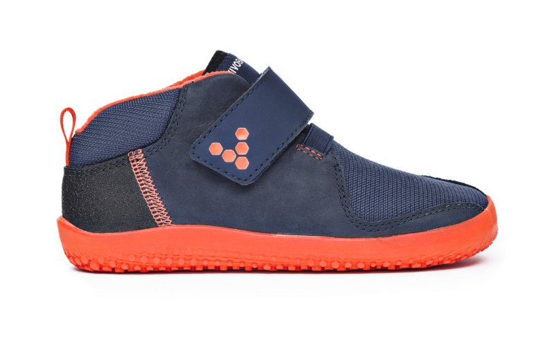 Vivobarefoot PRIMUS BOOTIE K Navy/Orange (1)