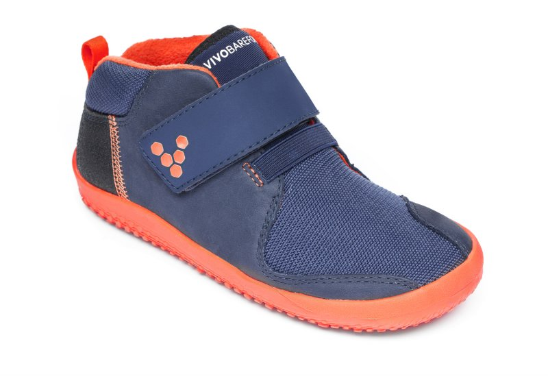 Vivobarefoot PRIMUS BOOTIE K Navy/Orange (2)